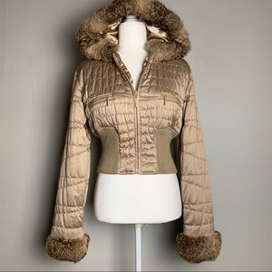 Bebe Real Fur Trim Gold Bomber Style Puffer Jacket